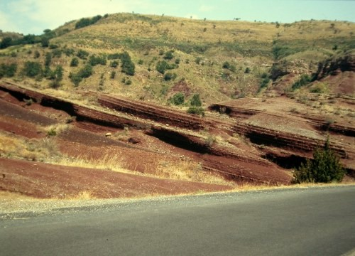 Red Permian strata in the South of France